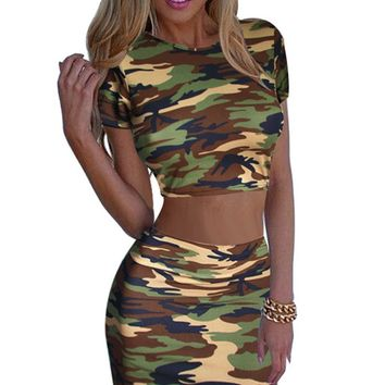 Camouflage women's 2-piece skirt set with crop top   Sizes:  XS - L
