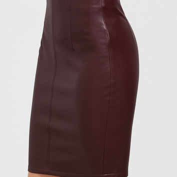 Burgundy Faux Leather Bodycon Skirt