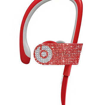 PowerBeats 3 Wireless,Custom Beats by Dre, Crystal Beats by Dre, Bling Beats, Bling custom earphones, Beats by Dre Red,Beats Headphones