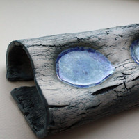 Wood, bark effect long stoneware ceramic with glass