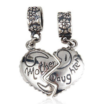 New DIY Mother & Daughter Charms Original 100% Authentic 925 Sterling Silver Beads fit for Pandora Charms bracelets & Necklaces