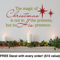 "Christmas Wall Decal. The Magic of Christmas (20"" wide x 14.2"" tall) Code 044"