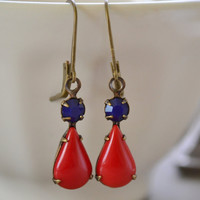Navy and Red Opaque Glass Estate Lever Back Earrings, Antiqued Brass, Vintage Sapphire and Cherry Red Earrings, Nautical