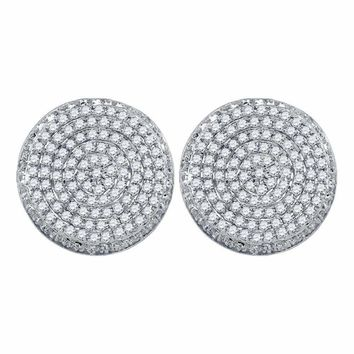 10kt White Gold Mens Round Diamond Circle Cluster Stud Earrings 5-8 Cttw - FREE Shipping (US/CAN)