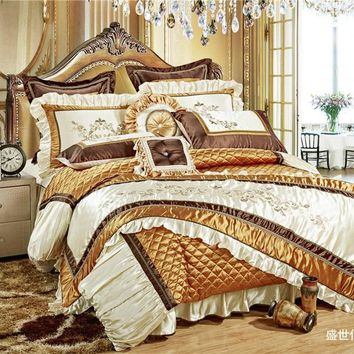Cool 11Pc Luxury Silk Cotton Royal Bedding set Golden Queen/King Size For Wedding Bed  Duvet Cover BedSpread Decorative juego de camaAT_93_12