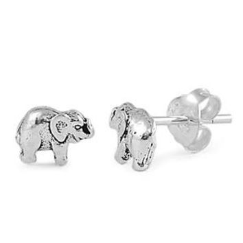 Elephant Jewelry Solid 925 Sterling Silver Tiny Elephant Stud Earrings (5mm)