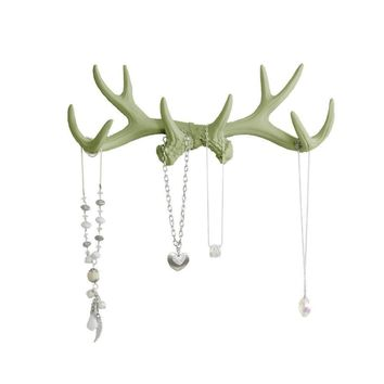 Antler Wall Rack | Deer Antler Hooks | Faux Taxidermy| Sage Green Resin