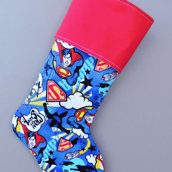 Super Man Stocking, Clark Kent Stocking, SuperMan Stocking, Super Man Christmas Stocking, Christmas Stocking, Superhero Stocking,