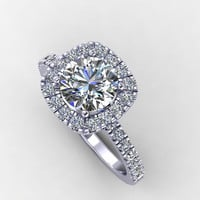 14K White Diamond Engagement ring,wedding diamond ring, with Moissanite Center  -Style 26W14DME