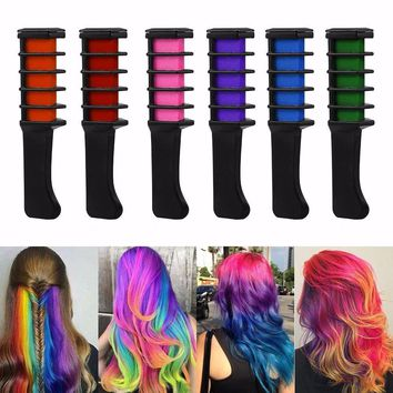 Professional 6 Colors Mini Disposable Personal Salon Use Temporary Hair Dye Comb Crayons Hair Dyeing Tool