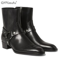 italian brand chelsea boots men 2016 Genuine Leather fashions mens ankle boots Shoe bl