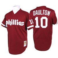Mitchell and Ness Philadelphia Phillies Mens Batting Practice Baseball Jersey - Maroon