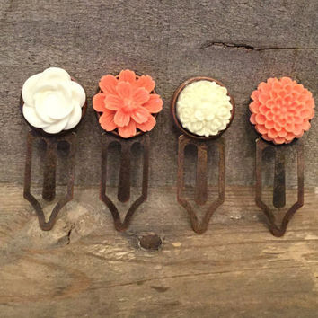 Metal Bookmark Set with Coral and Off White Flowers, Copper Bookmark, Planner Page Marker, Holiday Gift for Book Lovers, Journal Bookmark