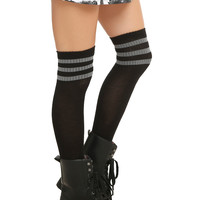 LOVEsick Black & Grey Knee-High Crew Socks