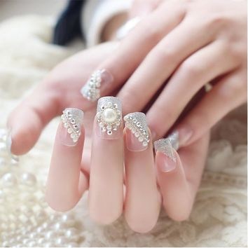 24pcs/Set Pretty Glitter False Nails Pearl Decal Wedding Bride Square Full Cover Fake Nail Tips With Glue