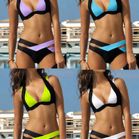 2016 New Summer Sexy Patchwork Bikini Set Woman Push Up Swimsuit Cross Bandage Swimwear Brazilian Swimsuits Bathing Suit Biquini