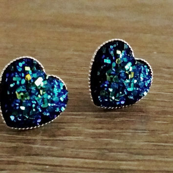 Druzy earrings- Metallic blue green heart drusy silver tone stud druzy earrings
