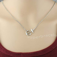 The Anchor necklace - sideways little Anchor necklace in silver - the best gift for girlfriend and BFF