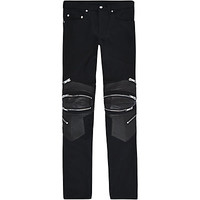 Saint Laurent Leather Panelled Biker Jeans