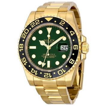 Rolex GMT Master II Green Dial Oyster Bracelet 18k Yellow Gold Mens Watch