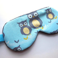 Owls Sleep Mask, Girls Eye Mask, Woman Pre-teen Present, Eyeshade, Pre-teen Gift, Soft Fleece Back, Blindfold, Night Nap Satin Cotton