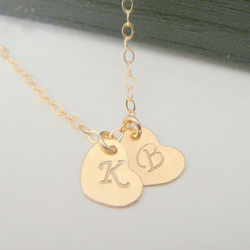 Gold Filled Alphabet Letter Double Heart Charm Necklace Tiny Disc Letter Initial Necklace Heart Necklace Bridesmaid Initial Letter Necklace