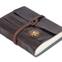 Dark Brown Faux Leather Journal with Steampunk Cameo Bookmark - Ready to Ship