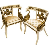 """Pair Painted & Giltwood """"Imperial Roman Style"""" Tub Chairs, Naples circa 1920"""