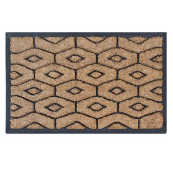 """Molded Honeycomb Rubber and Coir Hand Finished Doormat, 18"""" X 30"""""""
