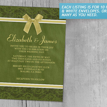 Yellow & Green Country Lace Wedding Invitations | Invites | Invitation Cards