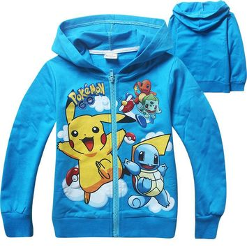 2018 Children new long sleeved Hoodie cartoon  go Sports sweater for kids cotton zipper Sweatshirt for boys and girlKawaii Pokemon go  AT_89_9