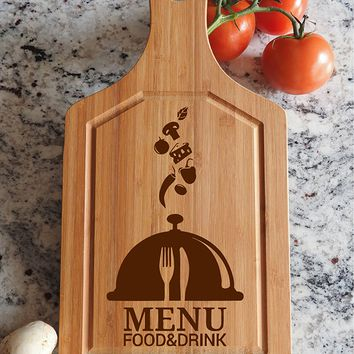 ikb418 Personalized Cutting Board Wood menu dish food kitchen restaurant