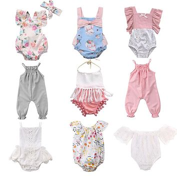 Pudcoco Hot Sale Newborn Infant Baby Girls Floral Rompers Flower Tassel Baby Girls Clothing Summer Baby Costumes