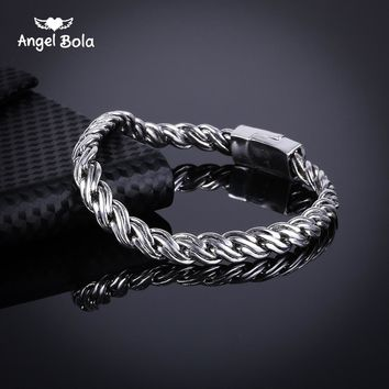 Women Bracelet Biker Wristband Vintage Totem Curved Edging Curb Chain Ancient Silver Buddha Bangle Jewelry Free Shipping B1019-2