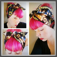Dracula Double WIDE Headwrap Bandana Hair Bow Tie 1950s Vintage Style - Rockabilly - Pin Up - For Women, Teens