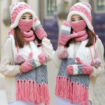 Woman Winter Hat and Gloves Sets Imitation Wool Fashion Women Hat Scarf Gloves Set Solid Hat and Scarf Set for Women Knitted