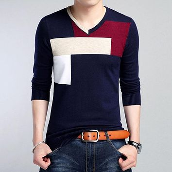 Autumn Long Sleeve Men's Sweater V-neck Knitted Pullover Geometric Pattern High Quality Classic Male Warm Social Casual Sweaters