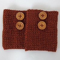 Brown Knitted Boot Cuffs With Wooden Button Boot Socks Boot Topper Leg