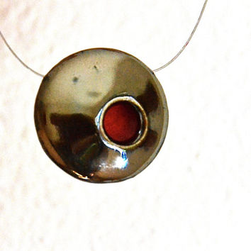 Beautiful Metallic Black Ceramic Pendant Necklace Jewelry with off center Red Dot-DOUBLE SIDED JEWELRY with sea urchin pattern