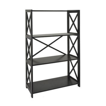 "Benzara 47.5"" Black Wood Shelf"