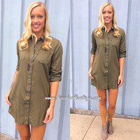 Down to Earth Olive Shirt Dress