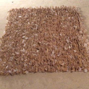 Large Burlap Rug, Rag Rug, Burlap and Lace Rustic Country Shabby Area Rug, Boho Chic