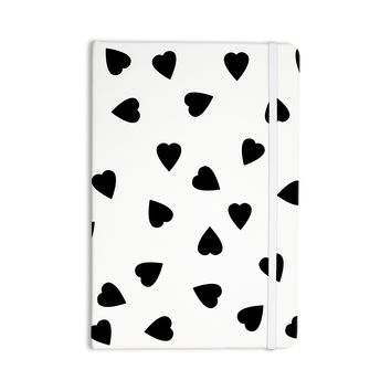 """Suzanne Carter """"Hearts Black"""" White Everything Notebook"""