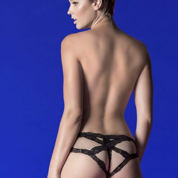 Hauty Crossover Mesh And Stretch Lace Cage Back Cheeky