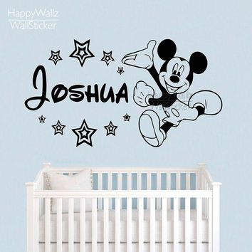 Minky Mouse Name Wall Sticker DIY Custom Name Wall Decal Kids Room Children Name Wall Decor Baby Nursery Name 554C