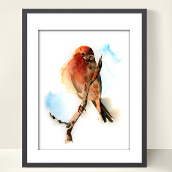 Bird on Branch Art Print of Original Watercolor Painting 9x12'', Watercolor Print Bird Wall Art Orange