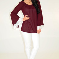 Beauty In The Breeze Top: Merlot | Hope's