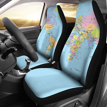 Geography Globe Car Seat Covers