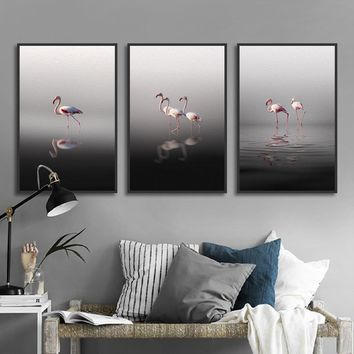 Nordic Spray Paintings Painted on Canvas Flamingo on Water Landscape Decorative Picture Living Room Home Decor Wall Art Prints