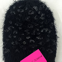 Betsey Johnson Black Fluffy Hat with Silver Thread Embellishment